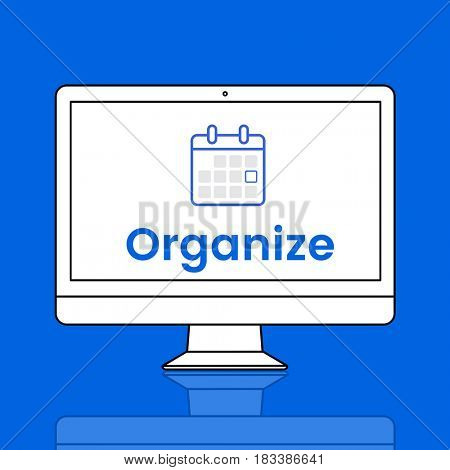 Illustration of personal organizer calendar on computer