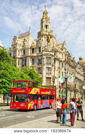 Porto, Portugal - May 12, 2012: Hop on Hop off tourist bus in downtown of Porto