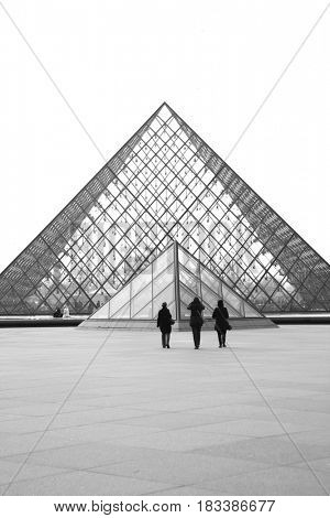 Paris, France - March 04, 2011: The Louvre museum pyramids (Architect Ieoh Ming Pei). Black and white image