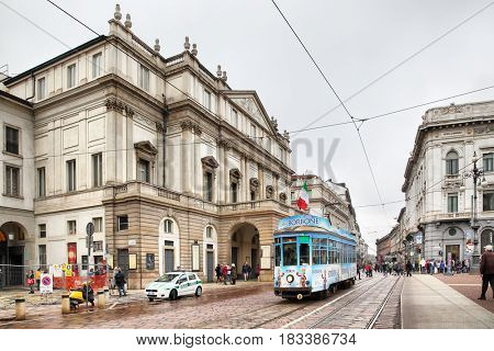 Milan, Italy - October 15, 2016: Piazza La Scala and La Scala opera theatre in Milan