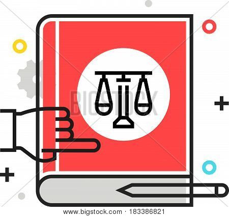 Color Box Icon, Law Book Illustration, Icon