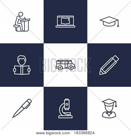Set Of 9 Education Outline Icons Set.Collection Of Learning, Laptop, Graduation Cap And Other Elements.