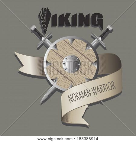 Swords and shield. Viking. Crossed swords and shield, entwined with a ribbon. Emblem fan club. Design for textiles, printing on fabric and paper.