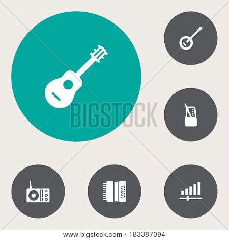 Set Of 6 Music Icons Set.Collection Of Acoustic, Banjo, Radio And Other Elements.