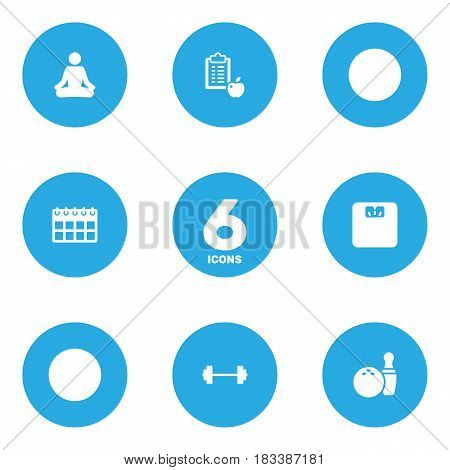 Set Of 6 Bodybuilding Icons Set.Collection Of Kegling, Date, Body Balance And Other Elements.