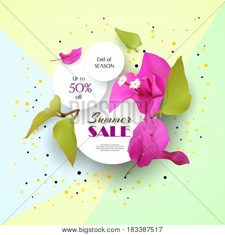 Summer Sale. Discounts. End of season. Concept. Advertising background with tropical flowers. Template. Vector illustration.