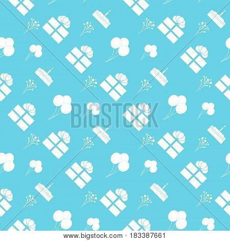 Seamless pattern with party elements. Balloons gifts fireworks cupcakes. Vector