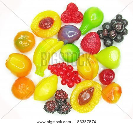 marmalade gelatin fruits dessert covered with sugar isolated