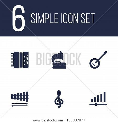 Set Of 6 Music Icons Set.Collection Of Knob, Percussion, Harmonica And Other Elements.
