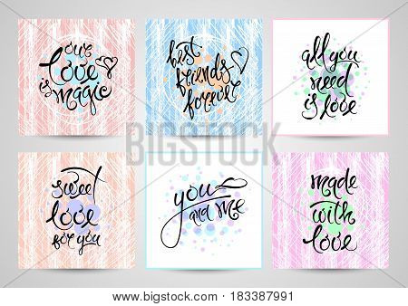 Vector set of hand drawn letters, postcards on the theme of love, friendship and relationships EPS10