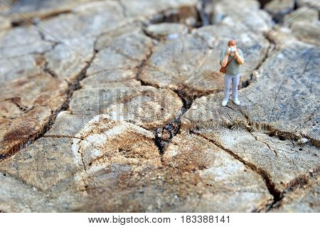 Miniature Photographer Taking Picture on Wood Ground.