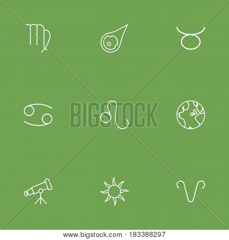 Set Of 9 Astronomy Outline Icons Set.Collection Of Aries, Taurus, Asteroid And Other Elements.