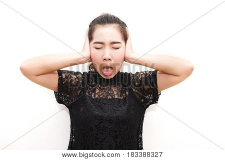 Asia Woman Annoying And Covering Ears With Her Hands. Look Like Funny
