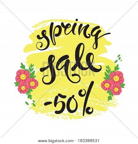 Spring sale. Vector hand drawn letters EPS10