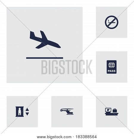 Set Of 6 Aircraft Icons Set.Collection Of Lift, Luggage Check, Letdown And Other Elements.