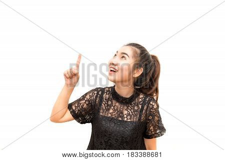 Portrait Of Asia Woman Smiling And Pointing Up, Concept Having An Idea