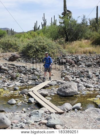 A Man Hiking Crosses Cave Creek in the Spur Cross Ranch Conservation Area