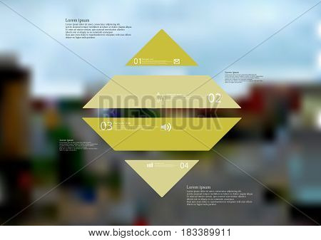 Illustration infographic template with motif of rhombus horizontally divided to four standalone green sections with simple sign number and sample text. Blurred photo is used as background.