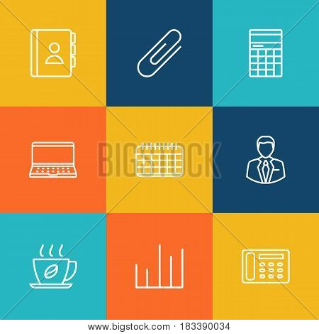 Set Of 9 Bureau Outline Icons Set.Collection Of Contacts, Fastener Paper, Telephone Directory And Other Elements.