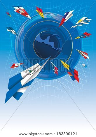 Illustration of painted paper airplanes with flags of different Latin American countries flying towards the map of Central America on blue background
