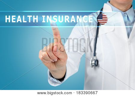 Text HEALTH INSURANCE and doctor on background
