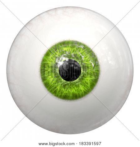 2d illustration of a green human eye ball