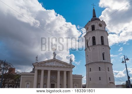Cathedral Basilica Of St. Stanislaus And St. Vladislav With The Bell Tower Vilnius, Lithuania Europe.