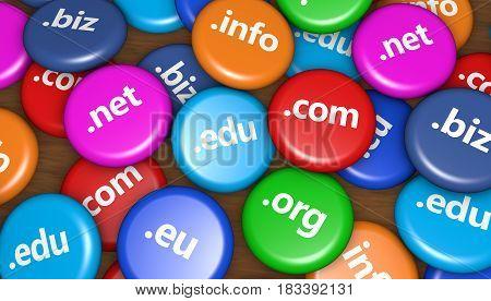 Internet domain name website hosting concept with domains sign on colorful badges 3D illustration.