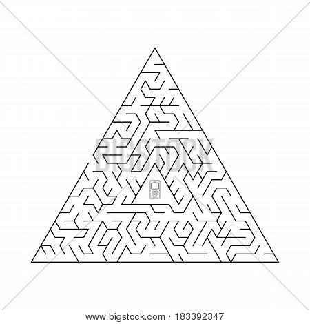 Labyrinth isolated from background. Vector illustration of EPS10. Triangular maze.