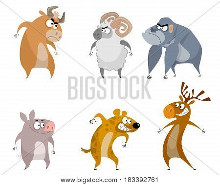 Vector illustration of a six funny aminals