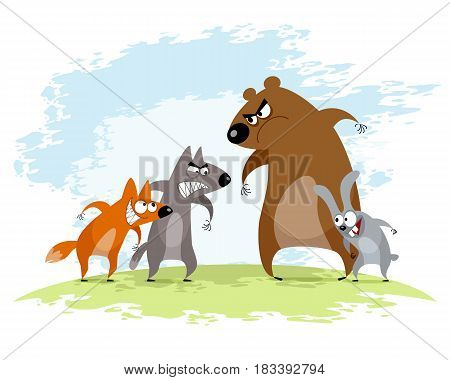 Vector illustration of a four animals conflict