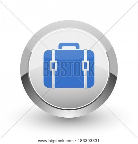 Bag chrome border web and smartphone apps design round glossy icon.