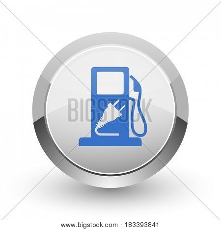 Fuel chrome border web and smartphone apps design round glossy icon.