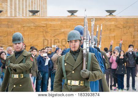 ANKARA, TURKEY - MARCH 27, 2017: Guard shift ceremony  in Anitkabir, Mausoleum of Ataturk - Ankara, Turkey