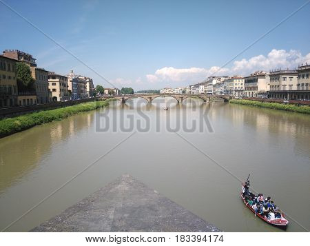Beautiful view of Florence, in Italy, near the river, Arno