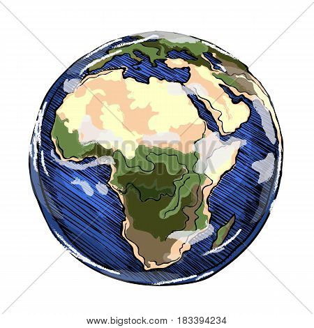 Globe outline drawing. Africa continent. Vector illustration  of sketchy  on white background.