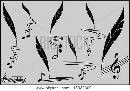 Music track - musical notes on note paper