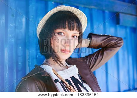 Woman In Hat On Blue Background