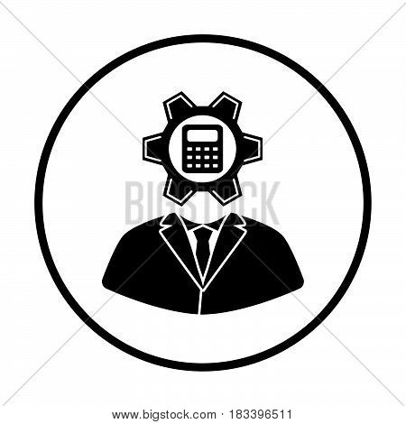 Analyst With Gear Hed And Calculator Inside Icon