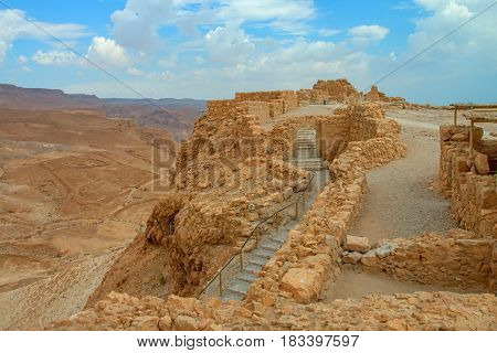 view of the ruins of the historic fortress of Masada