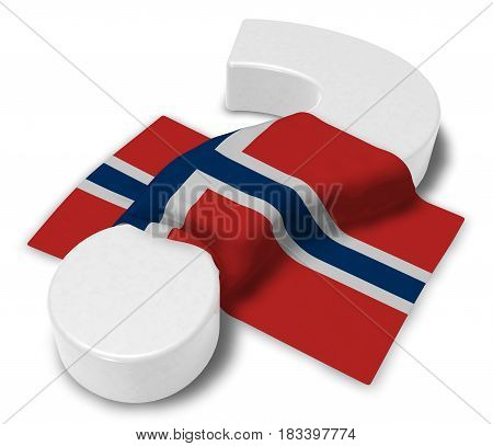 question mark and flag of norway - 3d illustration