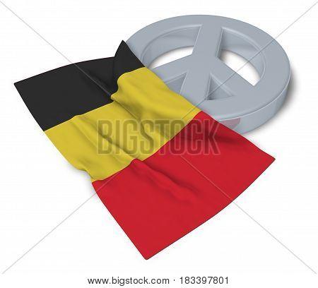peace symbol and flag of belgium - 3d rendering