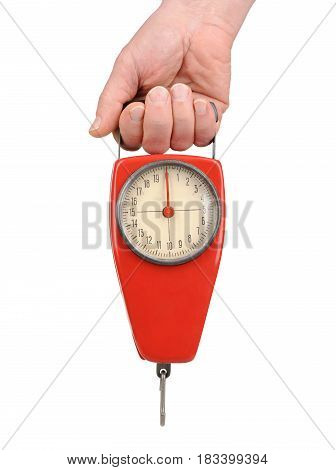 Hand Holding A Spring Scale Isolated On White
