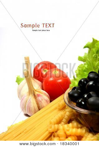 A bottle of olive oil with pasta and black olives isolated on a white background.