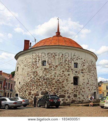 Vyborg Russia - 19 July 2016: Round Tower is a fortification at the market square of Vyborg. It was built in 1547-1550 by the order of Gustav I of Sweden as a part of the medieval town wall