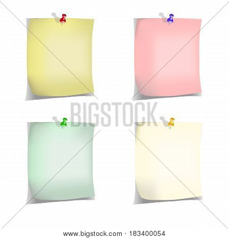 Four notes pinned to the wall with pins of different colors with shadows