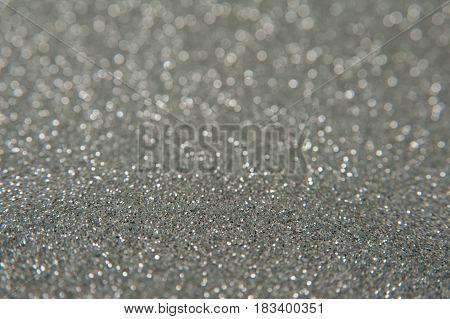 Silver glitter bright bokeh - new year background