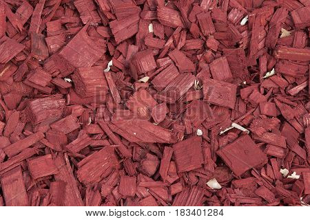 Red Wood Chips Texture, Wooden Decorative Background.