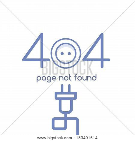 Error 404 page not found. Electrical socket and plug with wires in a linear style