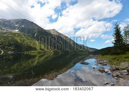 big clear lake among high mountain ranges